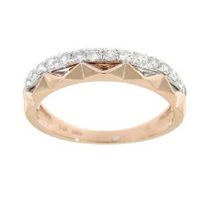 Real Diamond Stackable Fancy Band Multi Tone Gold
